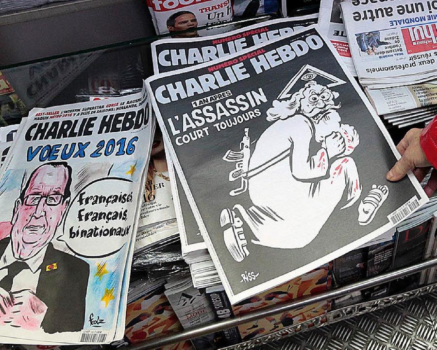 Wieder wird provoziert: Die Ausgabe de...tschrift zum Jahrestag des Attentats.     Foto: afp
