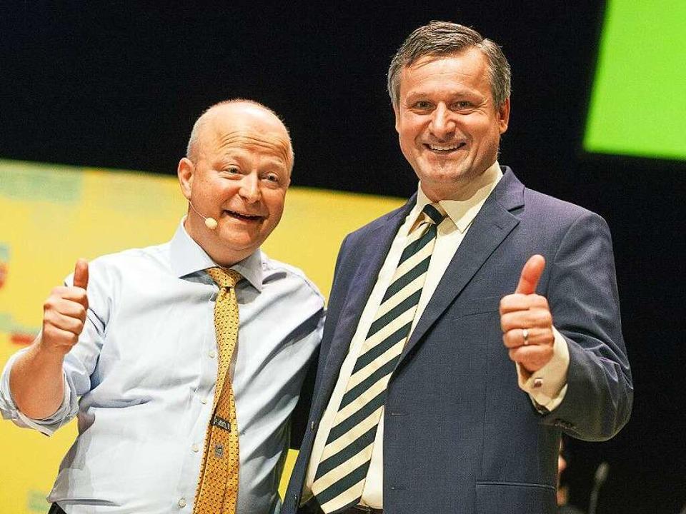 Der Landesvorsitzende Michael Theurer ...rich Rülke geben sich zuversichtlich.     Foto: dpa
