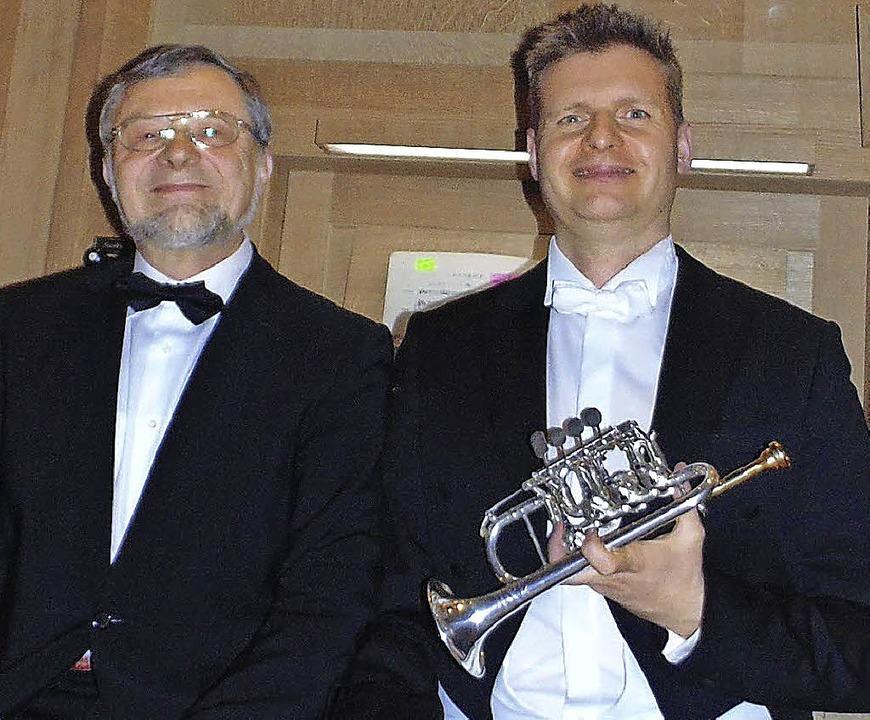 Wim van Hasselt (Trompete) und Bernhard Marx  | Foto: Gottstein