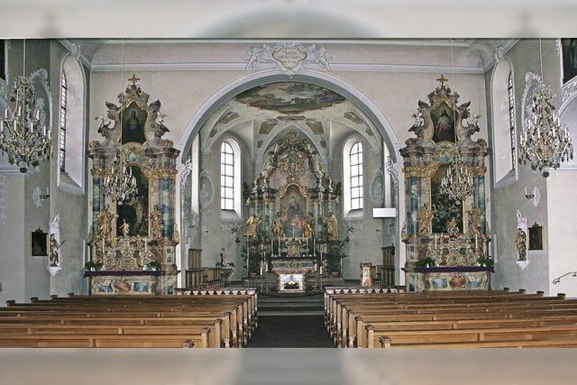 Der Innenraum der Wallfahrtskirche wird saniert
