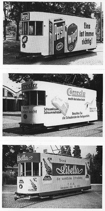 Flotte Reklame-Flotte: Leere Wagen fuh...tra Werbung, hier in den 50er Jahren.     Foto: Archiv: VAG