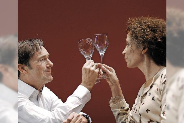 Die bekannten Schauspieler Helmut Zierl und Karin Boyd in der Oberrheinhalle