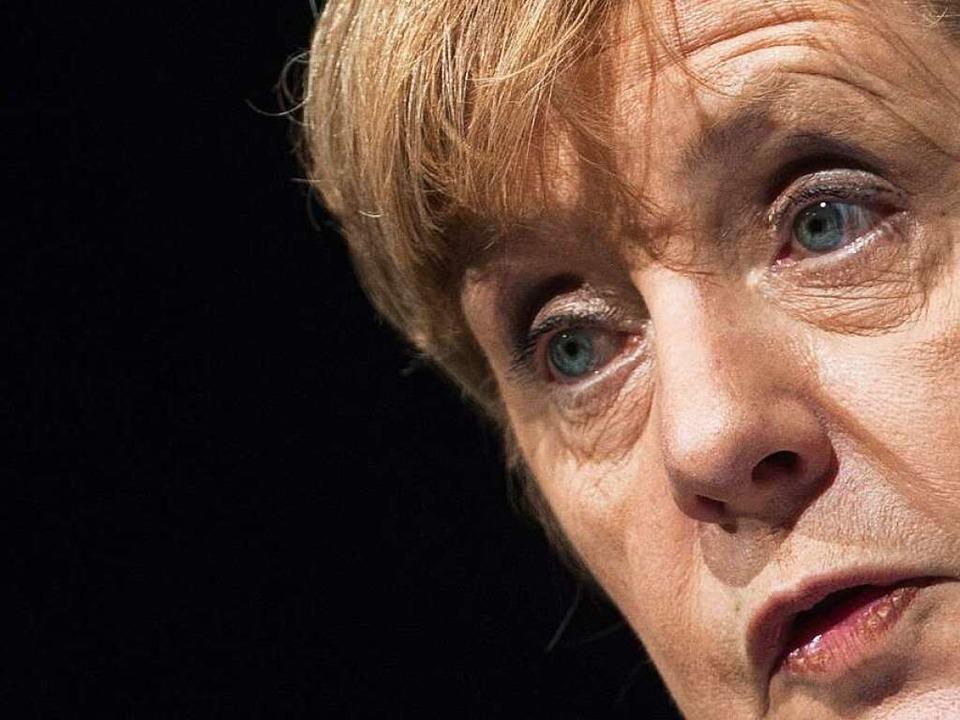 Angela Merkel bei ihrer Rede in Freiburg  | Foto: dpa