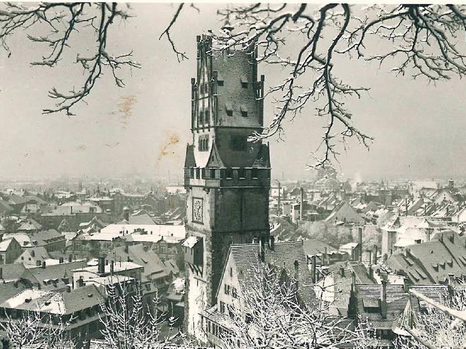 <BZ-FotoAnlauf>Schwabentor </BZ-FotoAn... dem alten Aufbau auf einer Postkarte   | Foto: privat