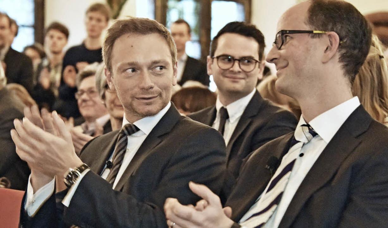 <BZ-FotoAnlauf>empfang FDP: </BZ-FotoA...a Fiek freuen sich über den Zuspruch.   | Foto: Michael Bamberger