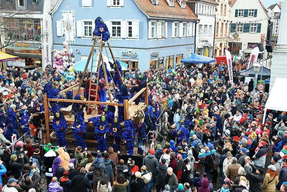 Der Schindbock der Bohlsbacher Krabbenaze gehört zum Offenburger Narrentag wie das Scheeserennen (Foto: Helmut Seller)