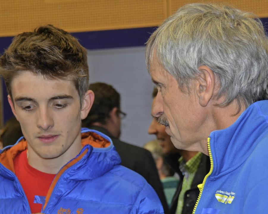 Talent und Trainer: Janosch Brugger (links) und Dieter Notz   | Foto: zwick