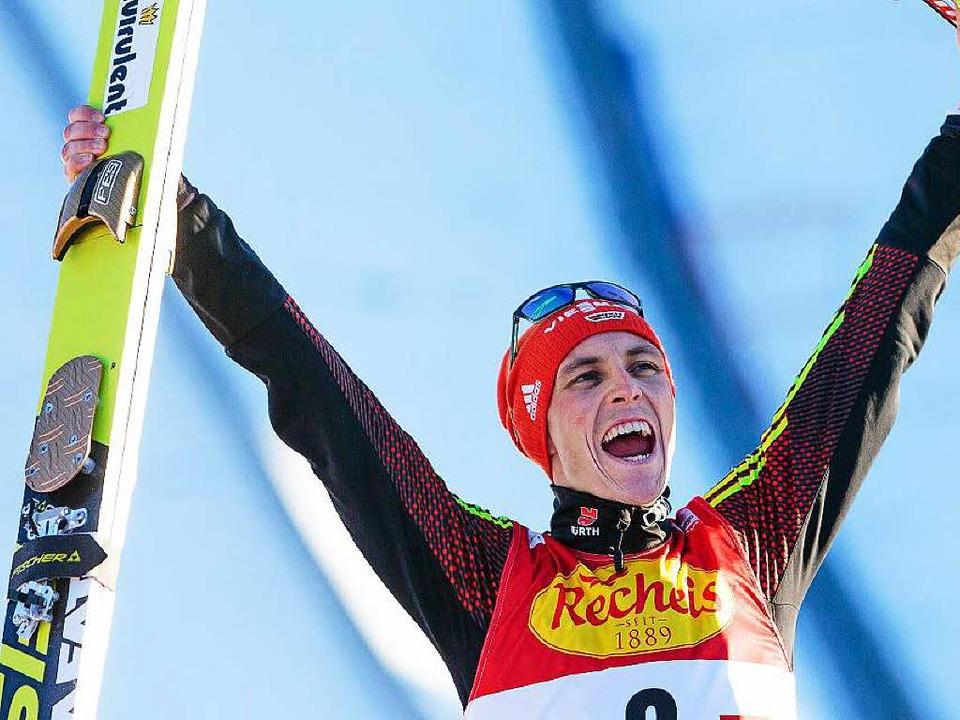Eric Frenzel – Die Freude des Siegers nach dem Skating  | Foto: dpa