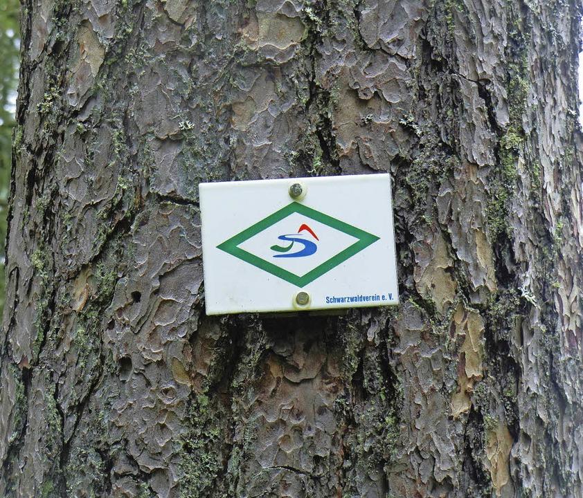 Diese Wegmarke kennzeichnet den Schluchtensteig.    Foto: Landratsamt