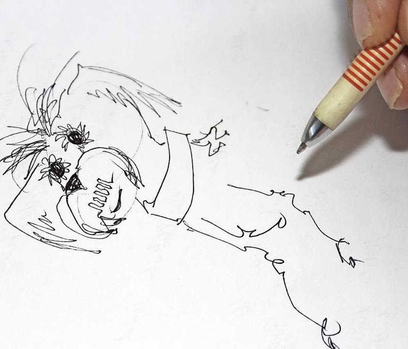 """""""Wenn ich Glück habe, habe ich ei...ährend er seinen Hund Cocky zeichnet.     Foto: Cornelia Liebwein"""
