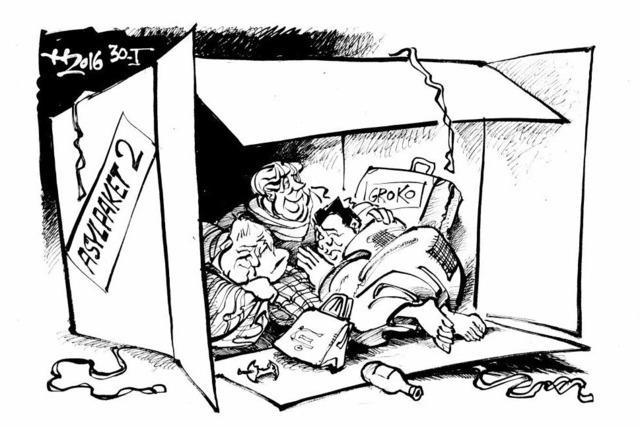 Flüchtlingsfamilie erschöpft und glücklich am Ziel.