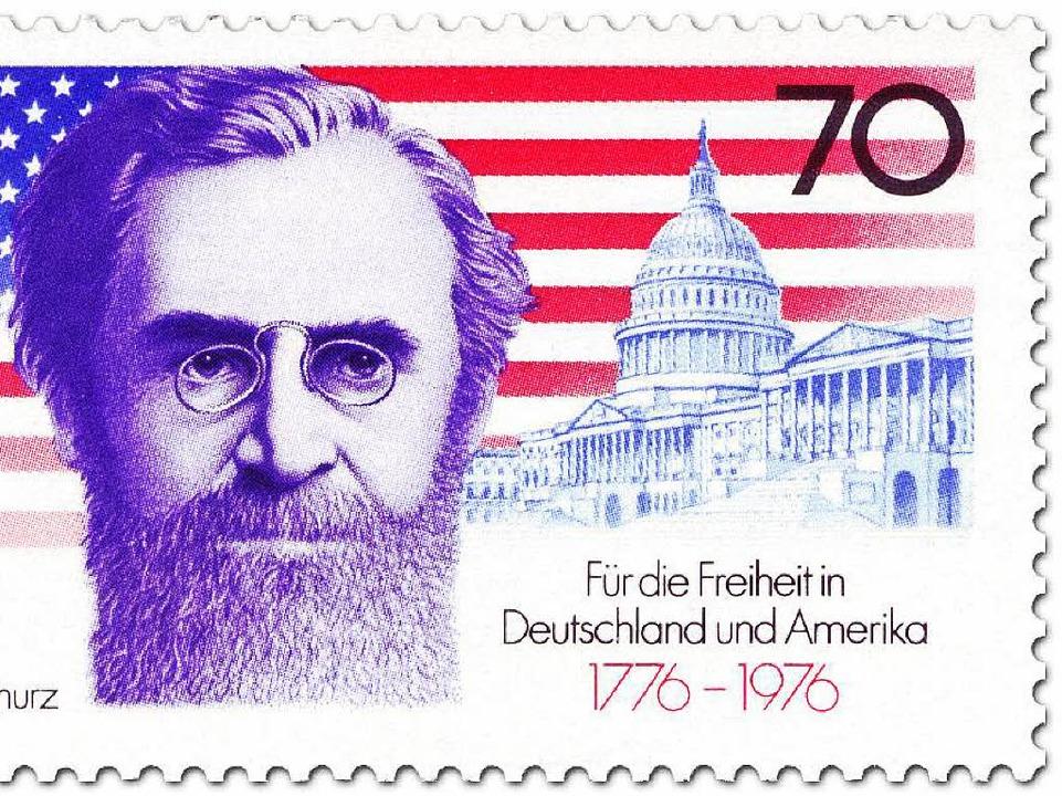 Briefmarke anlässlich des 200. Jahrest...erikanischen Unabhängigkeitserklärung   | Foto: BZ (2)/Verlag
