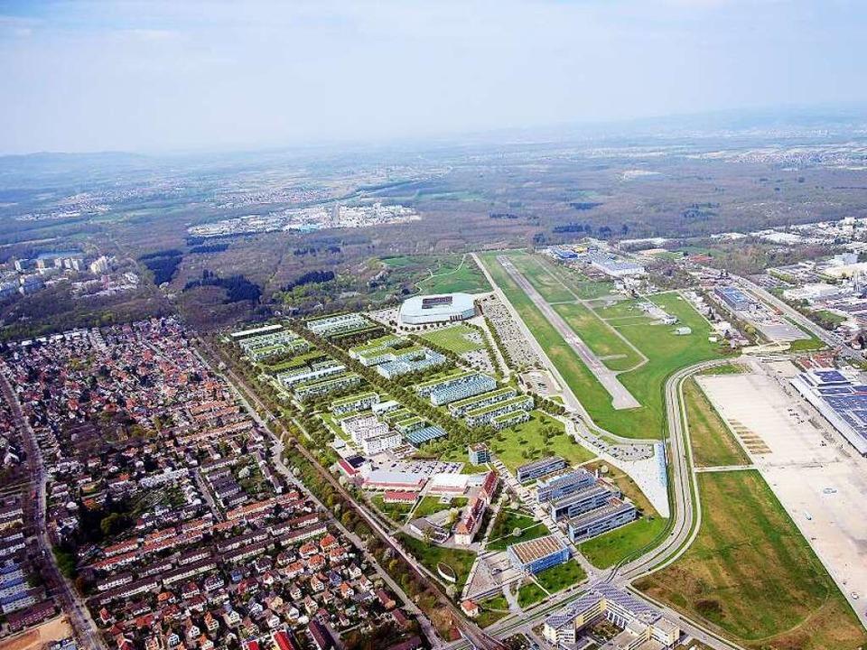 Das künftige SC-Stadion und die Techni... werden am Flugplatz direkte Nachbarn.  | Foto: HHvision