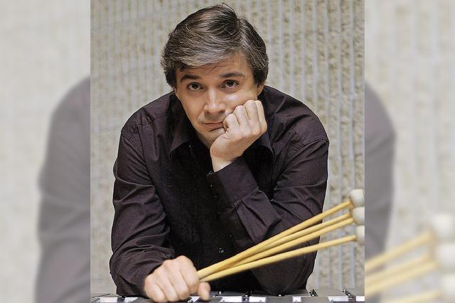 Vibraphonist Andrei Pushkarev in der Kurbrunnenanlage