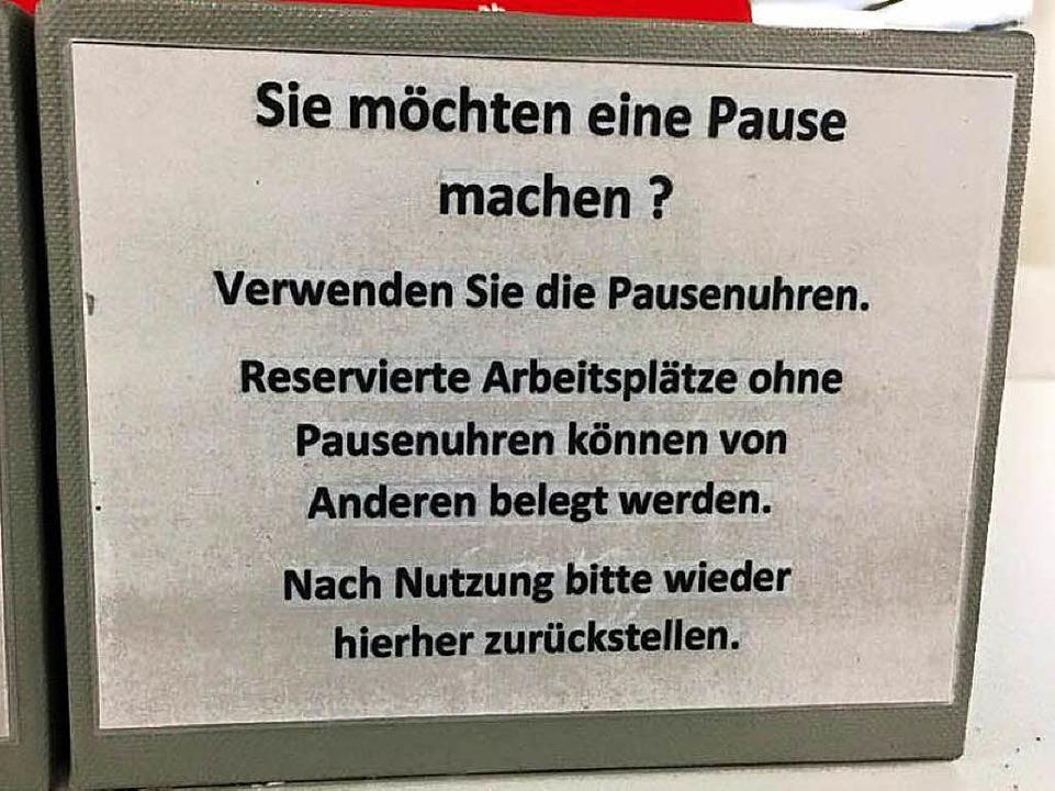 Ohne Pausenuhr darf ein menschenleerer...smaterialien sofort übernommen werden.  | Foto: Marius Buhl