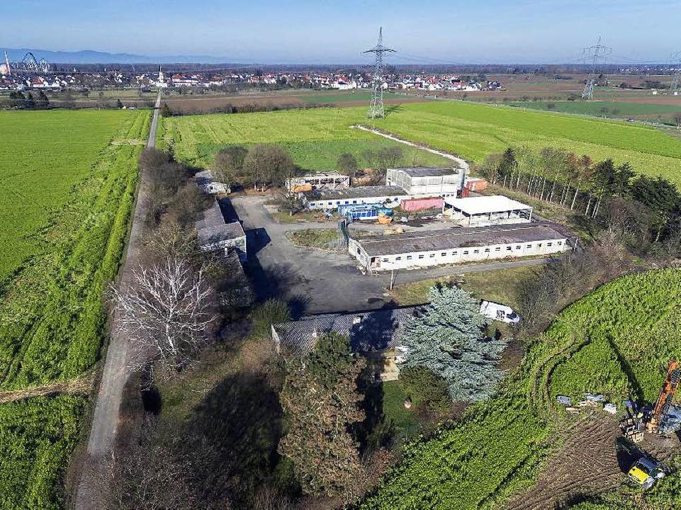 Der Hurster Hof bei Rust von oben – im Hintergrund links der Europa Park  | Foto: Bernhard Rein