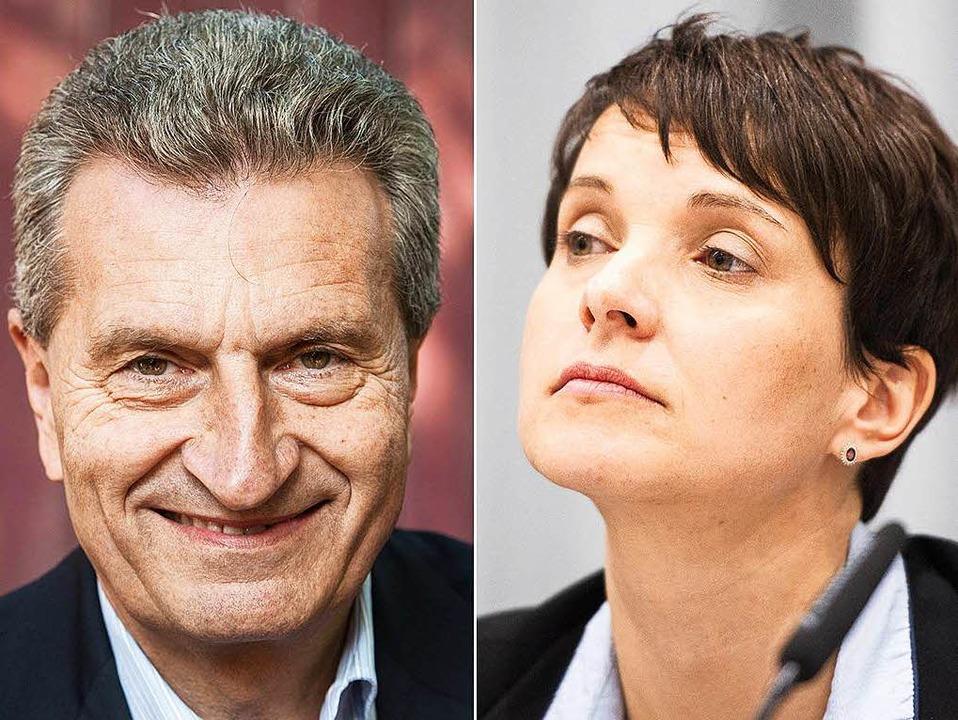 Günther Oettinger und Frauke Petry werden wohl keine Freunde mehr.  | Foto: dpa