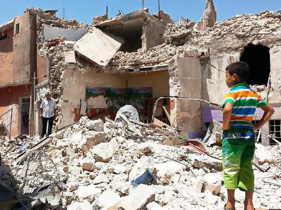 Zerstörungen in der Stadt Mossul, in dessen Nähe Khaleds Heimatdorf liegt.  | Foto: Str