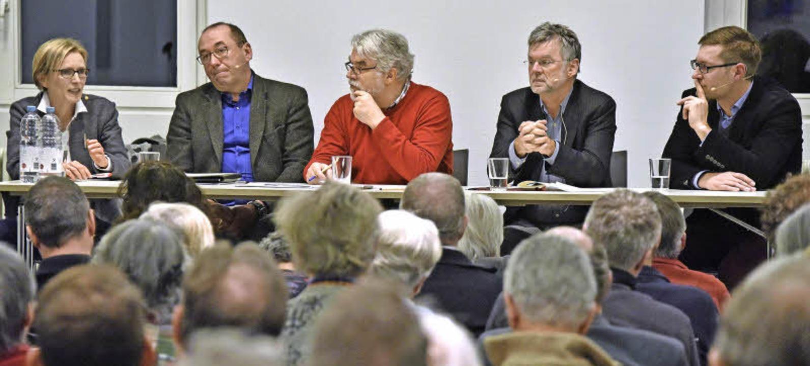 Erhalt oder Abriss: Architektin Ebba Z...esdenkmalamt) diskutieren (von links).  | Foto: m. Bamberger