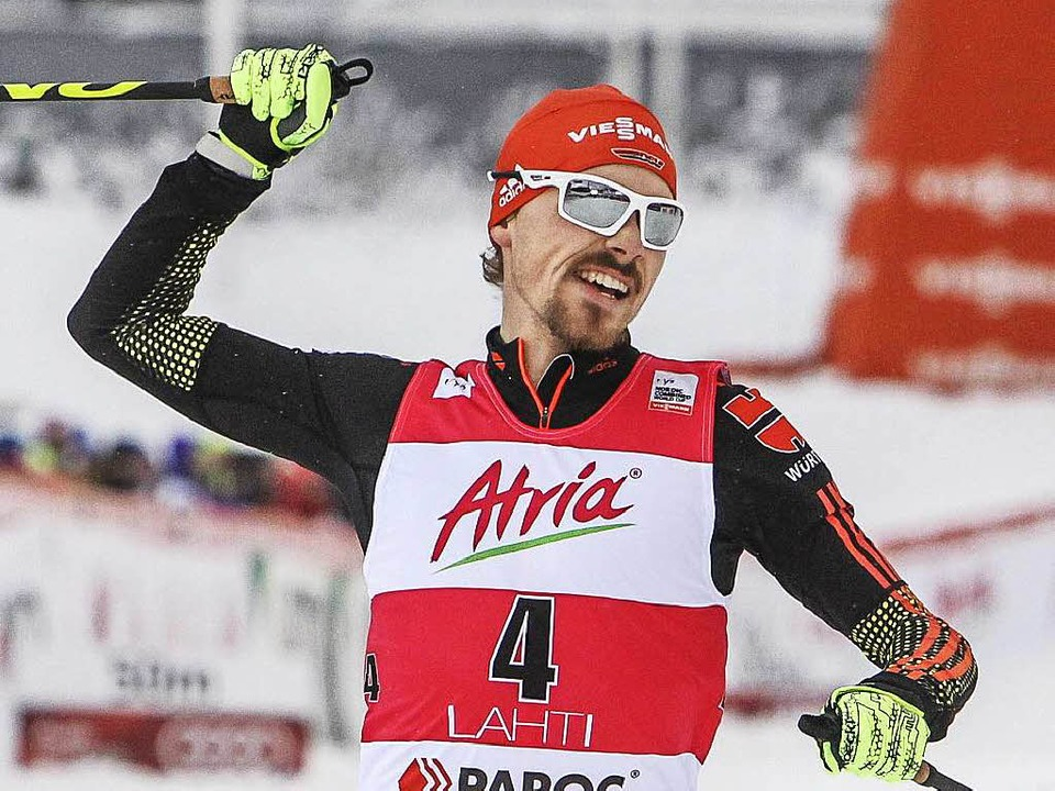 Dabian Rießle freut sich über seinen dritten Saisonsieg.  | Foto: dpa