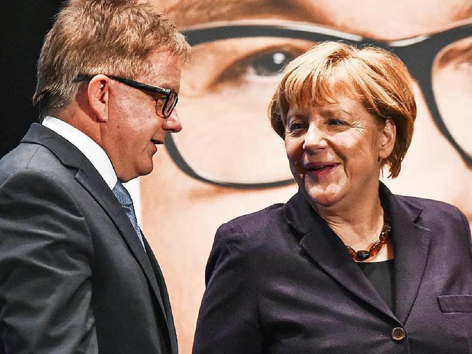 Bundeskanzlerin Angela Merkel kommt he...eranstaltung ins Konzerthaus Freiburg.  | Foto: dpa