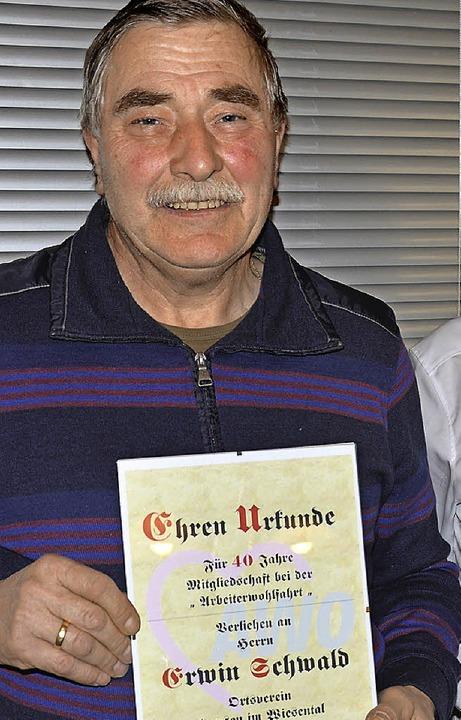 Erwin Schwald ist seit vier Jahrzehnten Mitglied bei der AWO.   | Foto: diehl