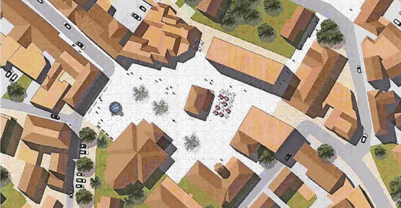 Im zweiten Vorentwurf bildet die Bibliothek das Zentrum des Platzes.  | Foto: H.Haag