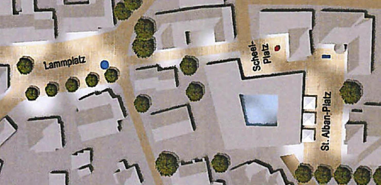 Der dritte Vorentwurf verbindet die Innenstadt über mehrere Plätze.  | Foto: H.Haag