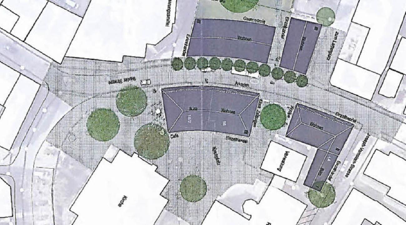 Der erste Vorentwurf sieht den Abriss ... 2 den Hieber-Markt, die 3 die Kirche.  | Foto: Grafiken: Kommunale Stadterneuerung GmbH