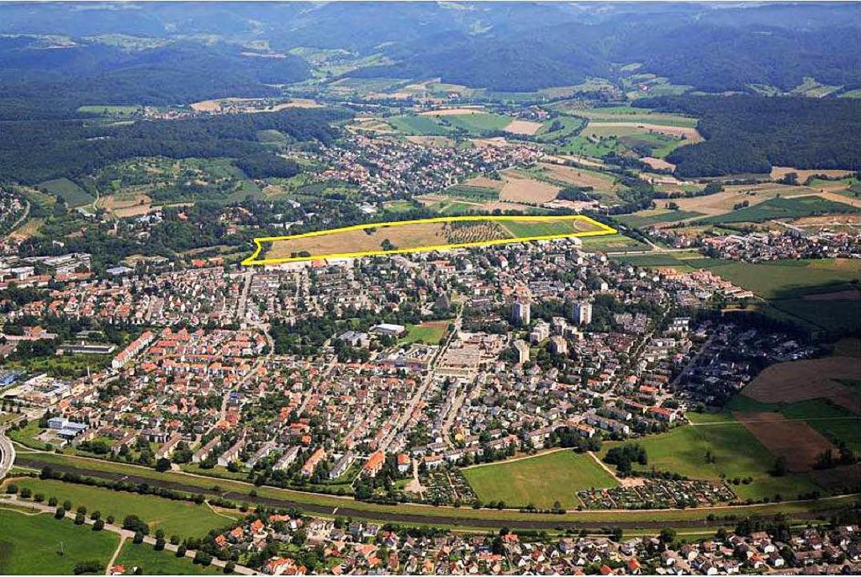 Das Gebiet Haselwald/Spitzmatten (gelb) aus der Luft.   | Foto: Stadt
