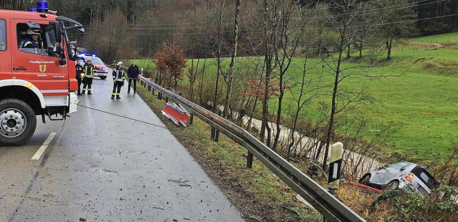 Zwischen Sitzenkirch und Kandern musst...deaus dem Lippisbach geborgen werden.   | Foto: Feuerwehr Kandern