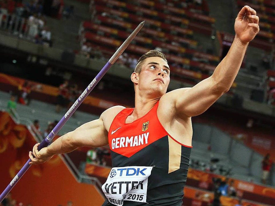 Johannes Vetter bei der Weltmeisterschaft  2015 in Peking  | Foto: Christian Charisius