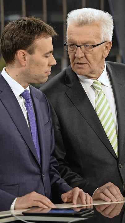 Ende der Partnerschaft? Nils Schmid (S...nks) und Winfried Kretschmann (Grüne)   | Foto: dpa