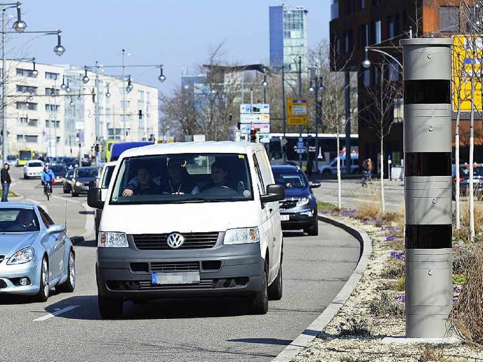 Die unscheinbare Säule rechts hat&#821...s auf der Heinrich-von-Stephan-Straße.  | Foto: Ingo Schneider