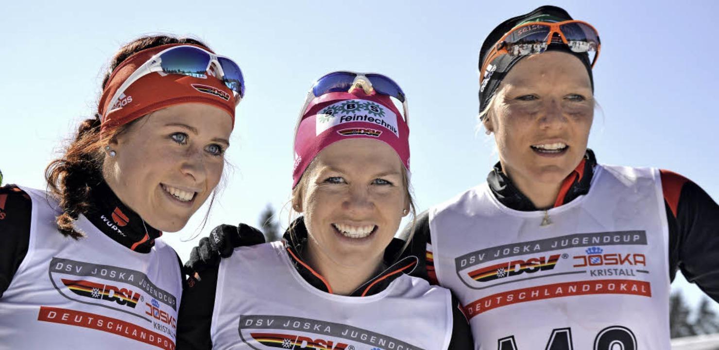 Strahlende Siegerinnen: Sandra Ringwal...auf dem Notschrei schnellste Juniorin.  | Foto: Helmut Junkel