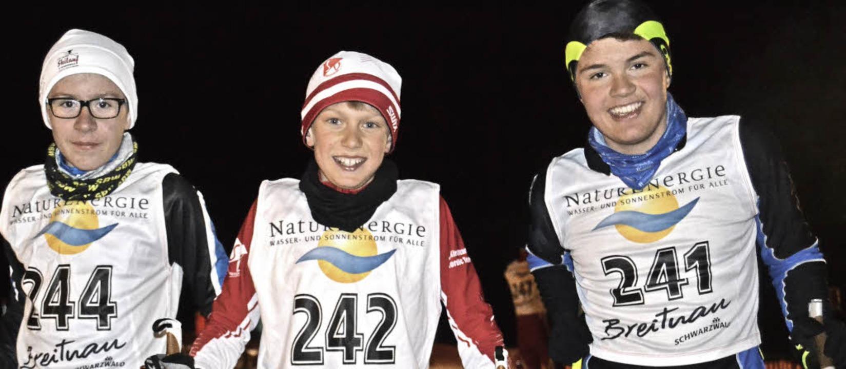 Die schnellsten Schüler der Klasse S12...rtins, Matteo Lewe und Leopold Hensler  | Foto: Junkel
