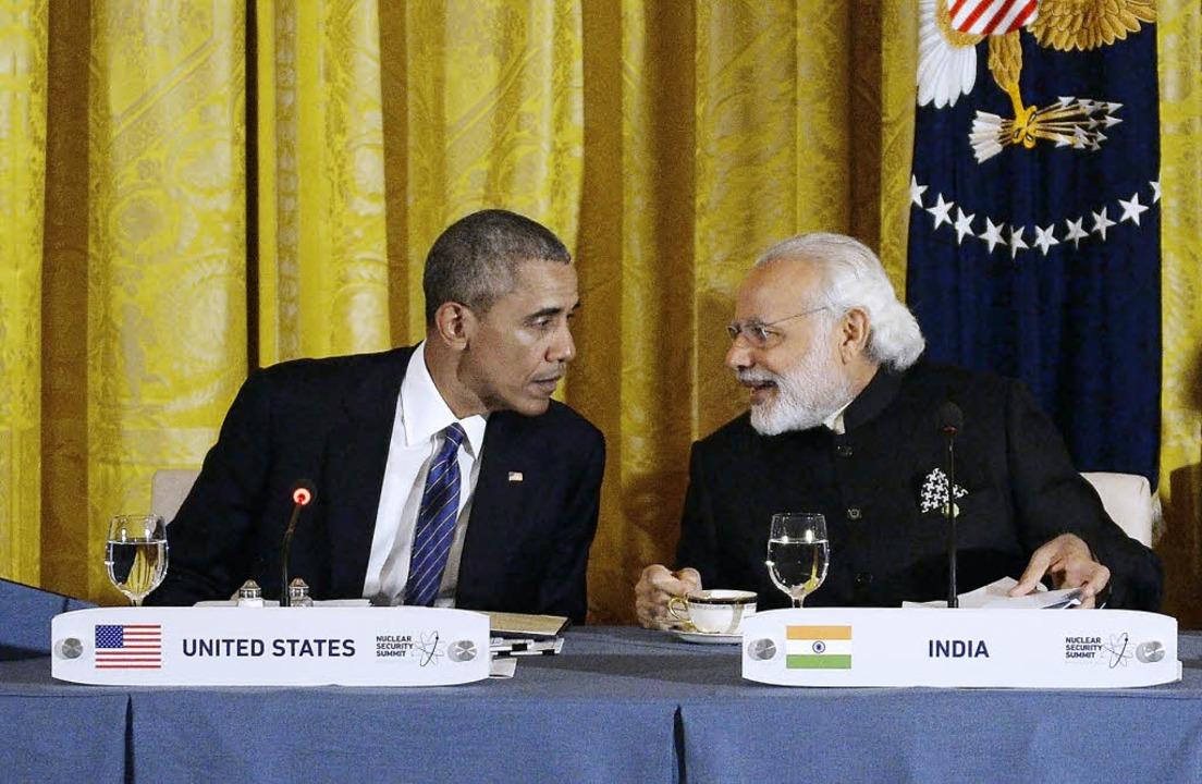Gastgeber Obama beim Nuklearsicherheit...it Indiens Premier Narendrakumar Modi   | Foto: AFP