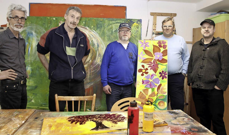 Die Ausstellungsmacher: Michael Goetz-...Jan Schofer und Armin Andreas Pangerl   | Foto: Heidi Fössel