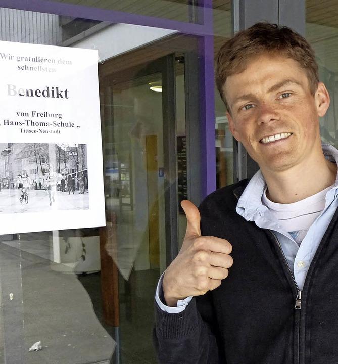 Marathonmann mit Lehrauftrag: Benedikt...rrichtet an  der Berufsschule Neustadt  | Foto: Annemarie Zwick