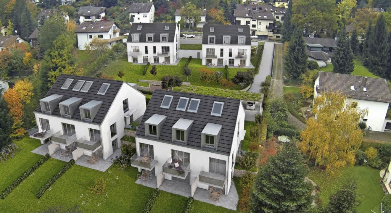 So werden die Gebäude  in Freiburg-Littenweiler einmal aussehen.     Foto: Visualisierung: MC-Immobilien