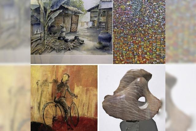 Eleonora Reisner- Dornach (Acryl), Gérard Fritz-Hesingue (Öl) Colette Roullin-Voujeaucourt (Aquarell) und Roswitha Niedanowski (Skulptur) in Buggingen
