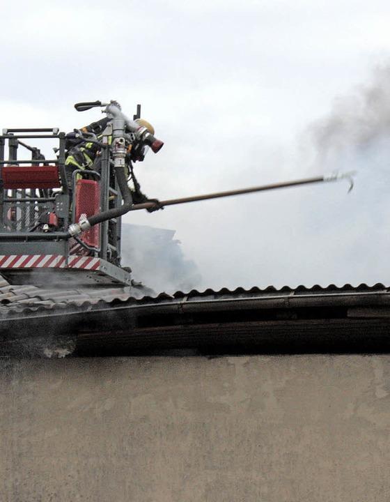 Von der Drehleiter aus konnte das Dach geöffnet werden.  | Foto: Dorothée Kuhlmann