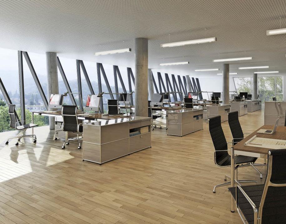 So sollen die Büros im Schnewlin 12  mal aussehen, weiß Martin Lauble.    | Foto: strabag, Roy Doberitz