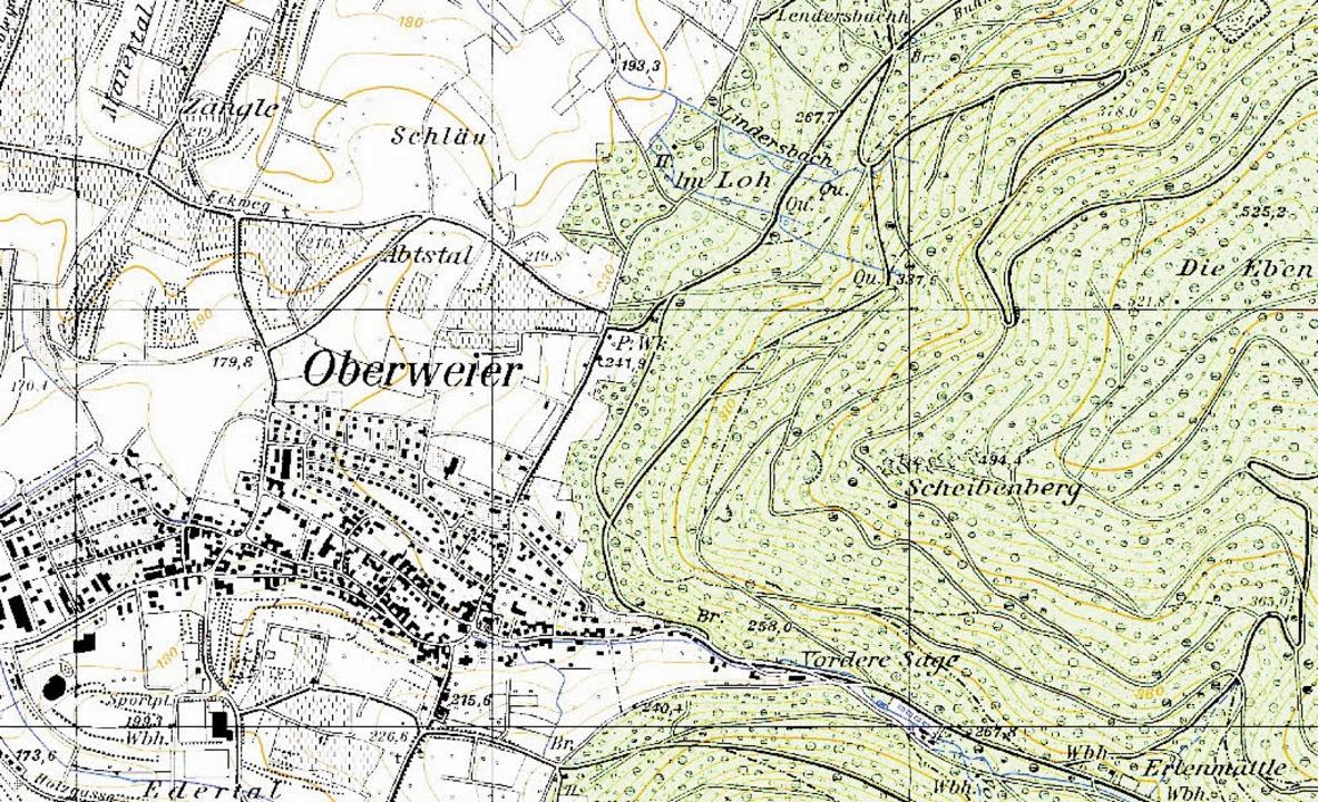 Schläu, Abtstal, Im Loh: In der topogr...iertal steht oben links im Ausschnitt.  | Foto: Geobasisdaten (C) LGL BW (www.lgl-bw.de)