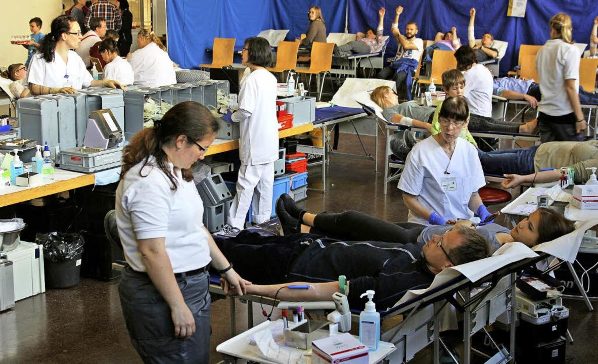 Erstmals wurde in der Haltinger Festhalle Blut gespendet.  | Foto: Antje Gessner