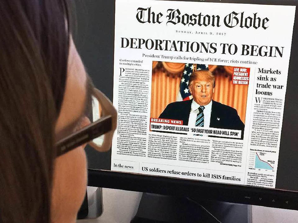 Die fiktive erste Seite des Boston Glo...ellem Wahlsieg – und den Folgen.  | Foto: AFP