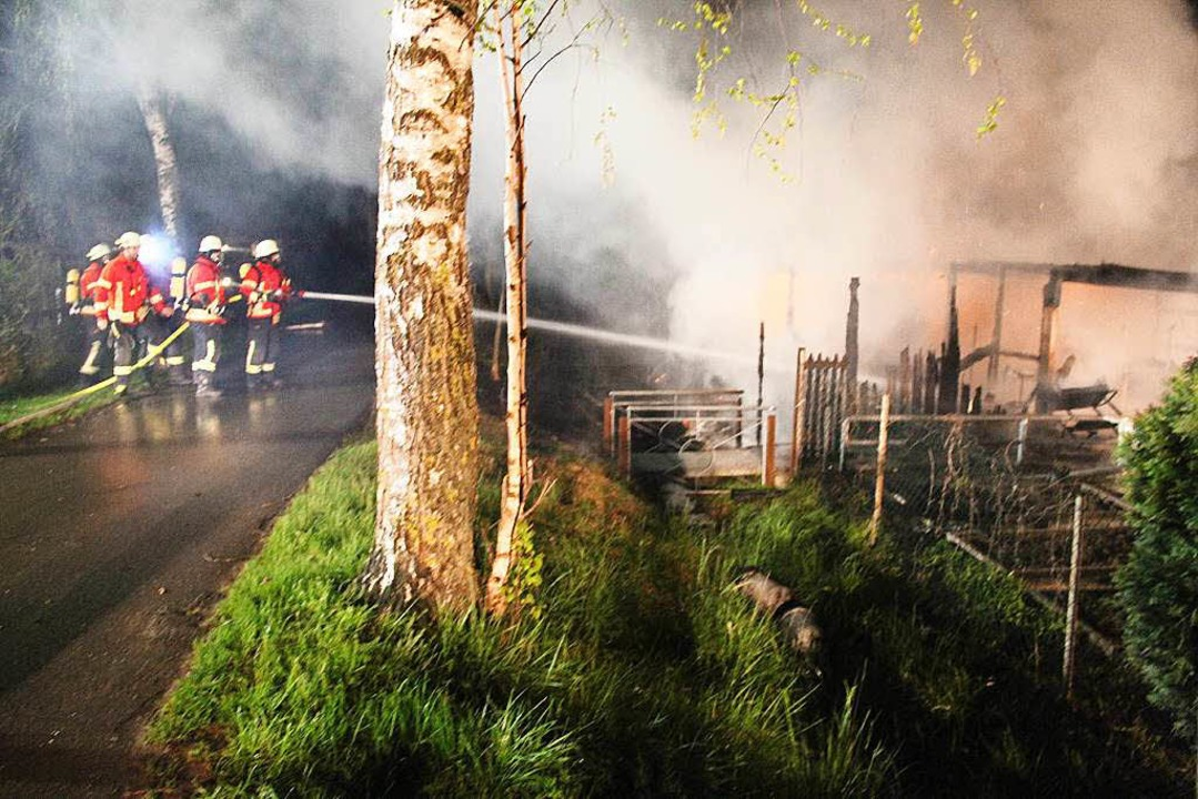 Die Bötzinger Feuerwehr beim Löschen des Brandes in der Kleingartenanlage.  | Foto: Horst David