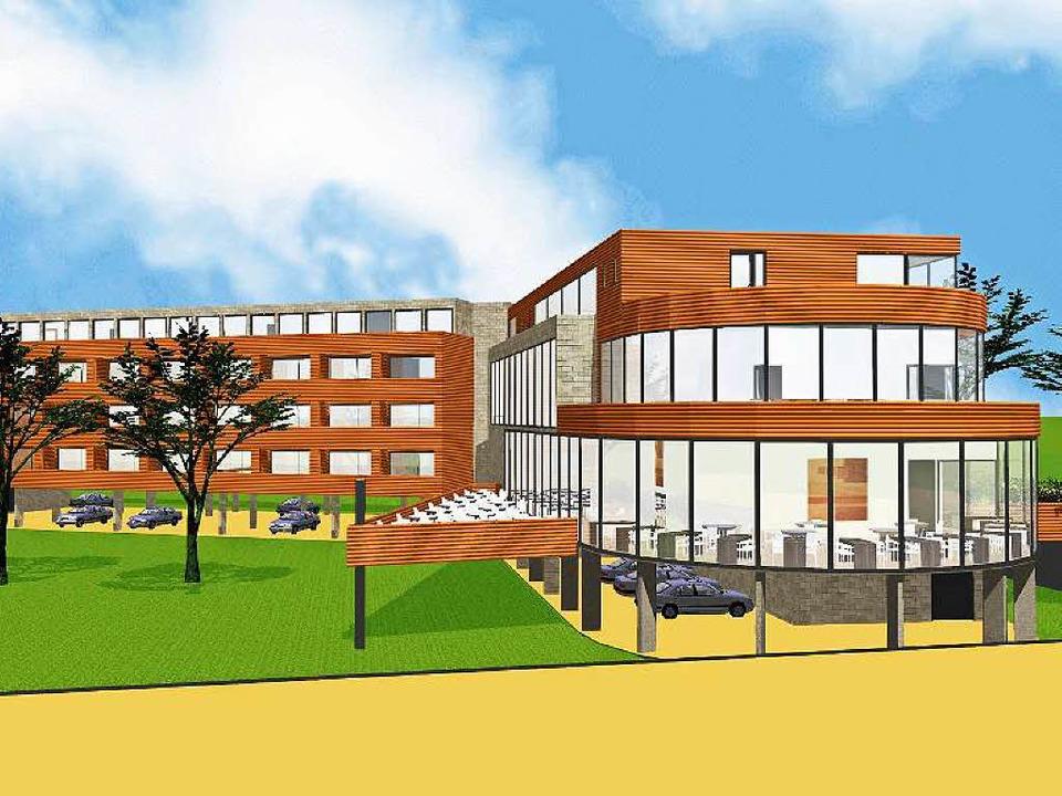 So soll das Hotel am Rhein einmal auss...lant sind auch großzügige Grünflächen.  | Foto: Entwurf: Architekturbüro Fischer