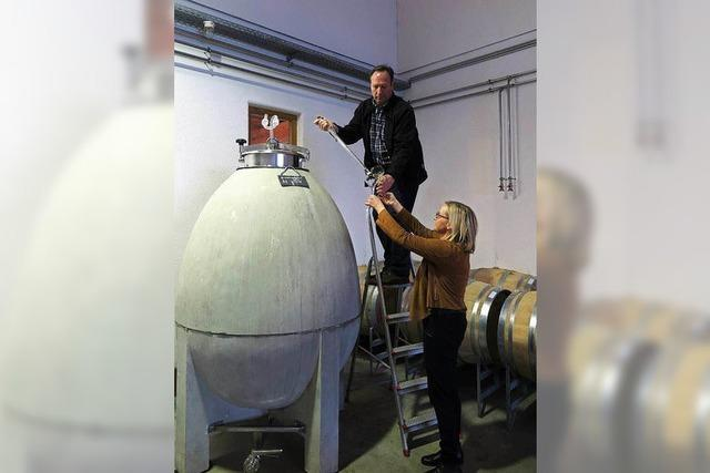 Weingut in Heitersheim baut Wein in einem Beton-Ei aus