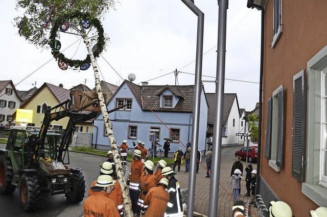 Feuerwehr stellt den Maibaum